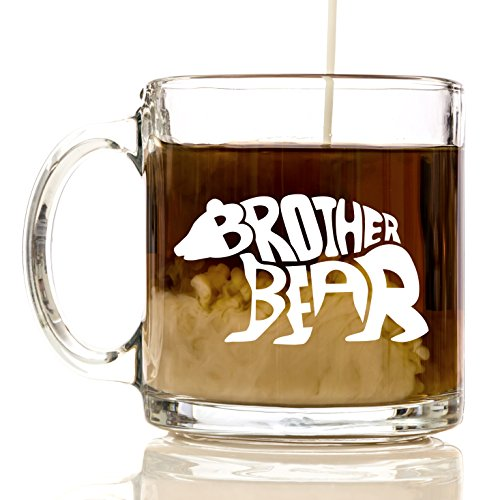 Brother Bear Premium Glass 12 oz Coffee Mug - Best Friend Gifts for Women, Men, for Kids, Girls, Boys, Box, Bag, Birthday, Basket, Adults, Dogs, Bears, Ideas, Teens, Sister, Brother, Funny