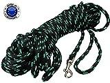 Braided Nylon Rope Tracking Dog Leash, Black with Green 15-Feet/30-Feet/45-Feet/60-Feet Training Lead for Small and Medium Dogs (45ft, Medium - Diam 3/8'' (8mm))