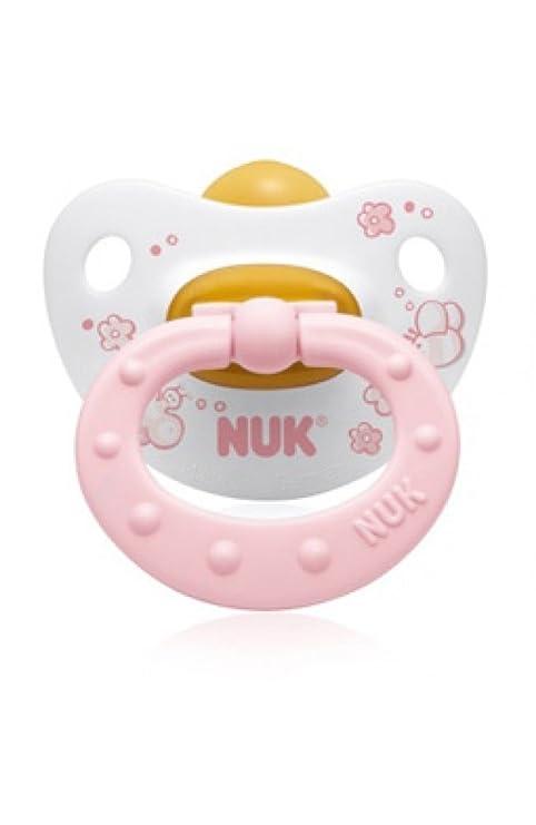 Nuk - fisiológicos Dummies (juego de 2) con ventilación Aberturas - Látex - Tamaño 2 (6-18 meses) - Rosa