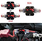 Podoy Circuit Breaker 12V for Car Audio System 50A Inline Fuse Holder Waterproof