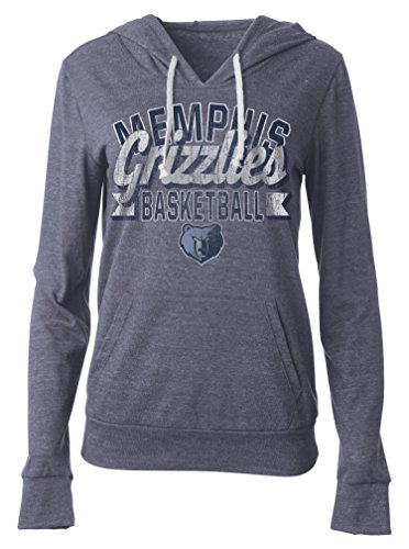 fan products of NBA Memphis Grizzlies Women's Tri Blend Jersey Pullover Hoodie with Pouch Pocket, Medium, Tri Natural Navy
