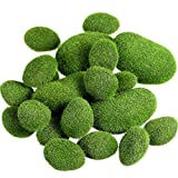 TecUnite 20 Pieces 2 Sizes Artificial Moss Rocks Decorative Faux Green Moss Covered Stones