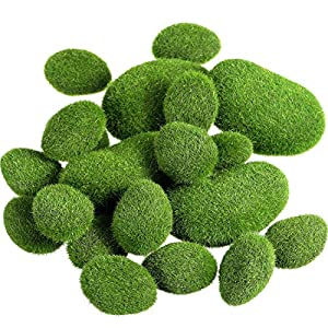 TecUnite 20 Pieces Artificial Moss Rocks Decorative Faux Green Moss Covered Stones 8
