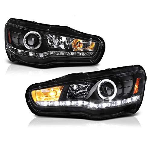 ([For 2008-2017 Mitsubishi Lancer Ralliart Evolution Halogen Model] LED Strip Black Projector Headlight Headlamp Assembly, Driver & Passenger Side )