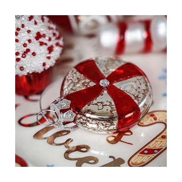 Valery Madelyn Palle di Natale Vetro Addobbi Natalizi Set, 16 Pezzi 6-8cm Traditional Red And White Palline di Natale Decoration for Addobbi Natalizi per Albero 6 spesavip