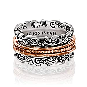 PZ .925 Sterling Silver and Rose Gold Over Silver Spinner Ring