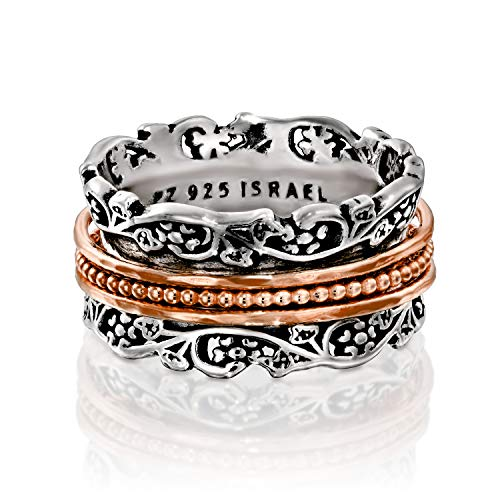 Paz Creations .925 Sterling Silver and Rose Gold Over Silver Spinner Ring (11), Made in Israel ()