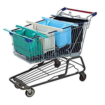 (Pleasant) - Reusable Shopping Cart Bags and Grocery Organiser Designed for Trolley Carts by Modern Day Living: Amazon.es: Hogar