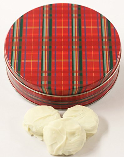 Scott's Cakes White Chocolate Covered Cool Mint Oreos in a Large Plaid Tin