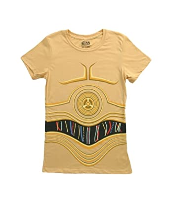 Amazon.com  Womens Star Wars I Am C3PO Costume T-Shirt Yellow  Clothing 6aa063e09064