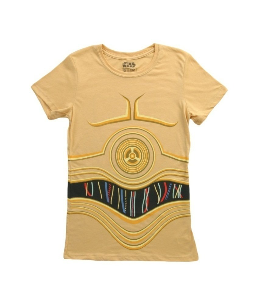 Mighty Fine Star Wars I Am CP3O Costume Tee Juniors Yellow L