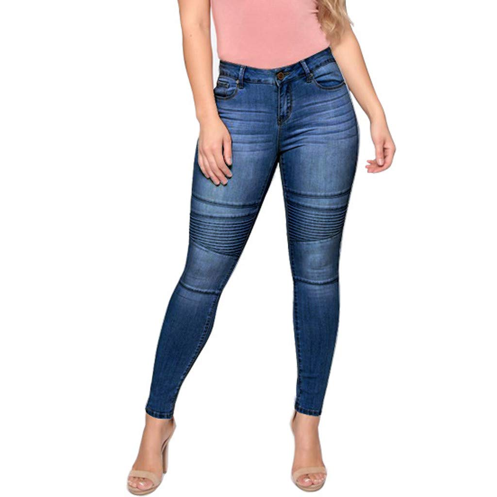 Waiimak High Waist Skinny Jeans for Women Distressed Stretch Curvy Butt Lifting Denim Pants Leggings(Blue,M)