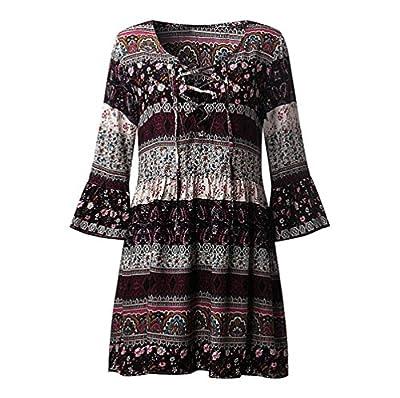 ANJUNIE Boho Dress,Women Floral Print Three Quarter Sleeve Ladies Evening Party Dress