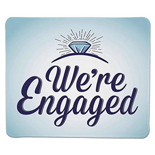SCOCICI Mouse pad - Gaming Mouse pad - We are Engaged Announcement Quote Wedding Ring Professional Control Gaming Mouse Pad Locking Edge Game Mat 11.8x9.8x0.1 inch