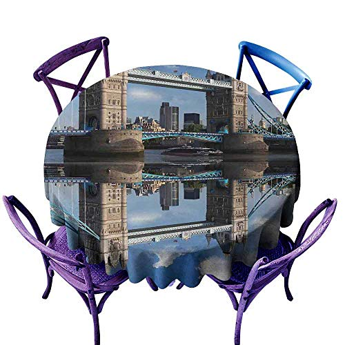 Round Outdoor Tablecloth,London,Tower Bridge with City Cruise in Summer Day Mirroring on Tranquil Thames River,Modern Minimalist,60 INCH Taupe and Blue -