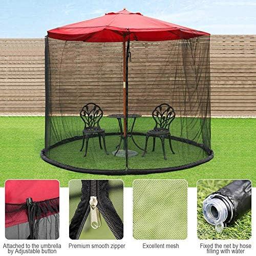蚊帳、屋外傘のテーブルスクリーン、ジッパードアとポリエステルメッシュの網が付いているテラスの傘スクリーン、調節可能な高さと直径、屋外のテラスのキャンプ傘に最適、9.8 ft7.5 ft