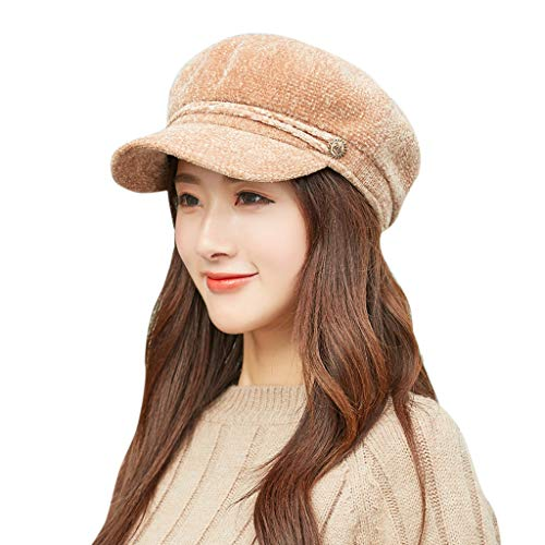 Pottseth Womens Winter Warm Knitted Hats Slouchy Beret Baggy Wool Beanie Hat Slouch Ski Cap with Visor