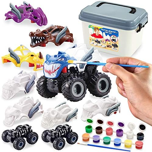 JOYIN Kids Craft Kit Build & Paint Your Own Monster Car Art & Craft Kit DIY Toy Set Make Your Own Monster Friction Powered Truck