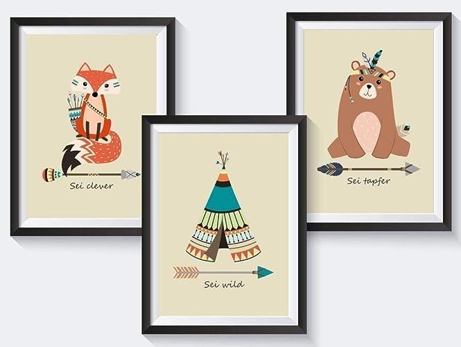Set Kinderzimmer Babyzimmer Poster Indianer Tiere Din A4 Optional
