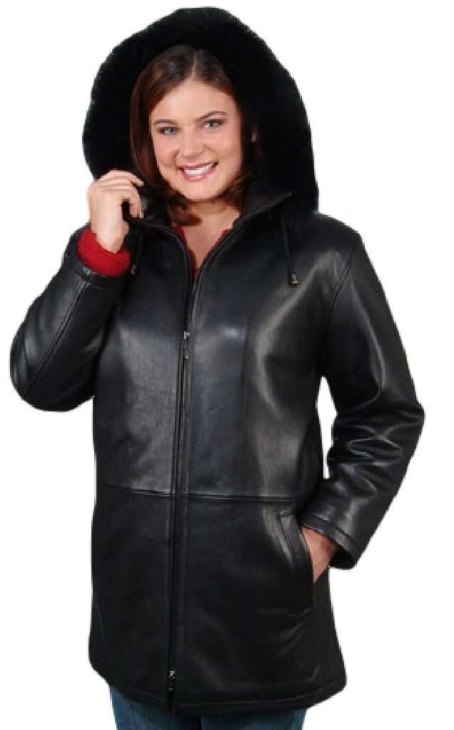 Reed Women's 33'' Parka with Fox Trimmed Detachable Hood Leather Jacket (6xl) by REED (Image #1)