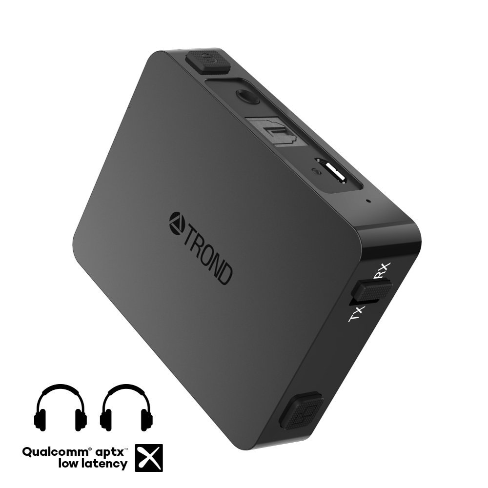 TROND Bluetooth Transmitter Receiver for TV PC iPod, Digital Optical Input & 3.5mm Aux Port, 500mAh Battery Powered, Dual Link AptX Low Latency - Specially Designed for Pairing Two Devices by TROND