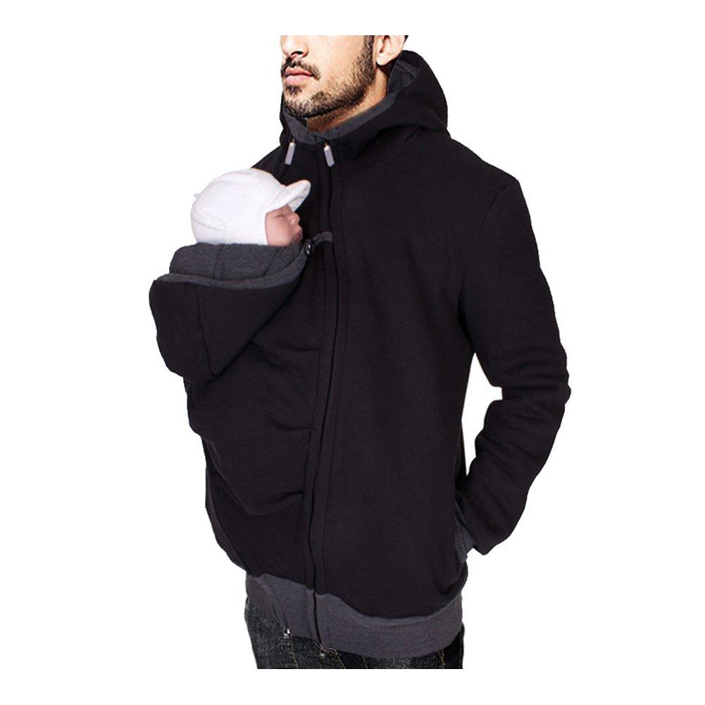 YINUOWEI Men Kangaroo Fleece Sweatshirt Hoodie Jacket Dad and Baby Carrier Coat