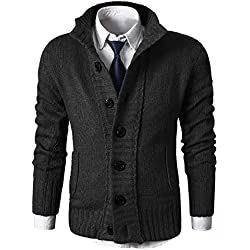 MIEDEON Button Point Stand Collar Knitted Slim Fit Cardigan Sweater (M, Black1)