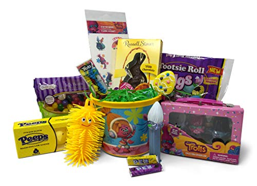 Trolls Easter Basket Pre Filled with Easter Candy, Easter Toys, Easter Basket Filler, and Easter Basket Grass | Great for Kids, Boys and Girls -