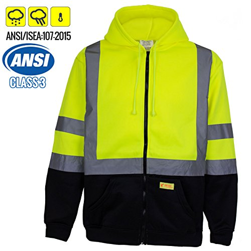 New York Hi-Viz Workwear H9012 Men's ANSI Class 3 High Visibility Class 3 Sweatshirt, Full Zip Hooded, Lightweight, Black Bottom (XX-Large)
