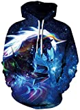Imbry Unisex 3D Galaxy Printed Hoodies Pullover Hooded Sweatshirts (L/XL,Galaxy Unicorn)