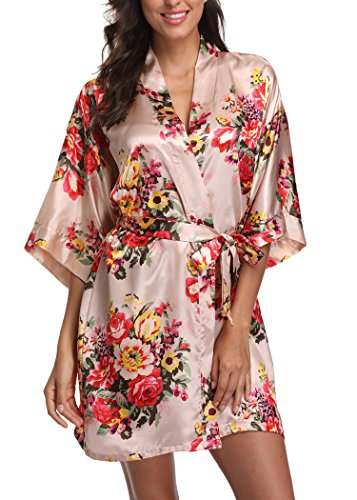 Laurel Snow Floral Satin Kimono Robes for Women Short Bridesmaid and Bride Robe for Wedding Party,Apricot M -
