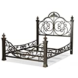 Cheap Fashion Bed Group Baroque Complete Metal Bed and Bedding Support System with Highly Decorated Design and Massive Finial Posts, Gilden Slate Finish, Queen