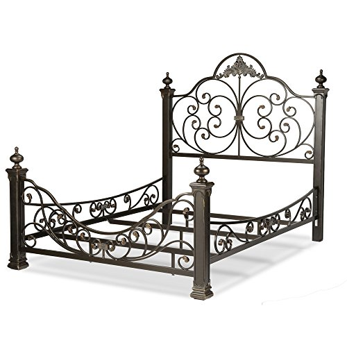 Fashion Bed Group Baroque Complete Bed with Massive Cast Metal Grills and Decorated Sloping Side Rails, Gilden Slate Finish, (Post King Headboard)