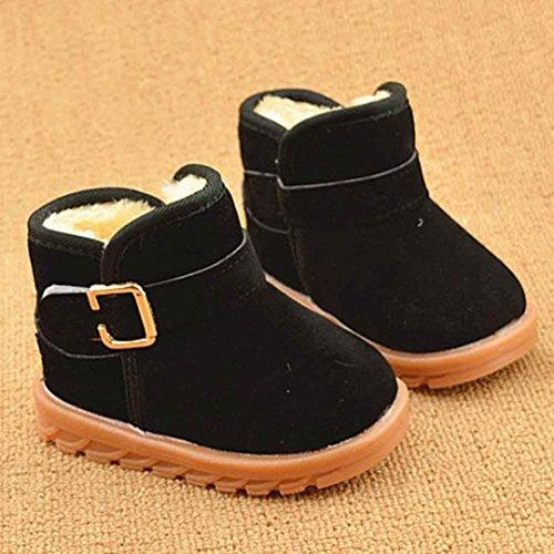 Unisex Baby Mädchen Stiefel Winter OVERMAL Mädchen Jungen Warm Schuhe Rutschfest Schneeschuhe für Neugeborene Baumwollstiefel Schwarz