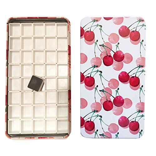 HOME AID Artist 40 Pcs Empty Half Pans with Magnets for Watercolor Gouache Paint with Travel Tin Box Plastic Color Refills (Magnet Palette Artists)