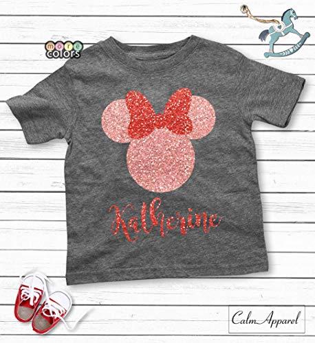 Custom Disney Shirt, Baby Girls Tops, Birthday Minnie T-shirt, Glitter Tees, Women's Disneyland Outfit