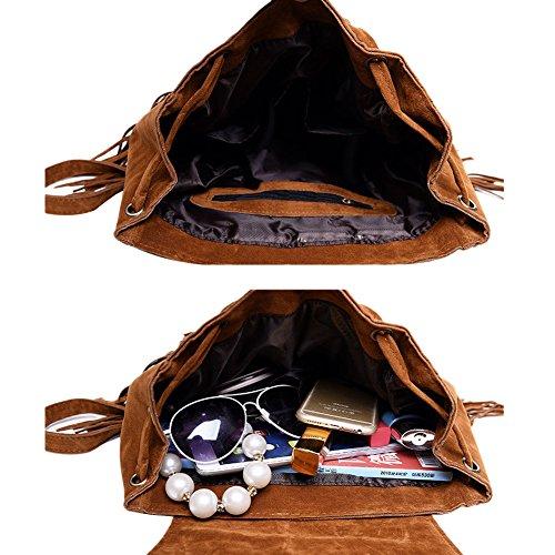 Frauen Mädchen Vintage Fringe Quaste Rucksack Mode Schultertasche Lässig Schul Daypack Geldbörse Buch Tasche Reisetasche Handtasche Rot