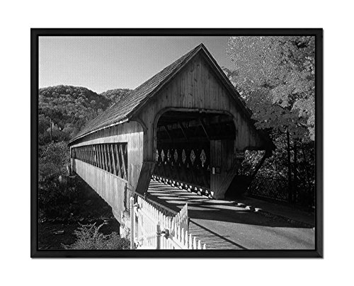 Covered Bridge Picture (Covered Bridge - Art Print Wall Art Canvas stretched With Black Wooden Frame - Black and White - Ready To Hang - 20x14 Inches)