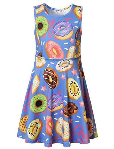 Jxstar Big Girls Dress Sweet Printed Rainbow Doughnut Sleeveless Dress Doughnut 160 ()