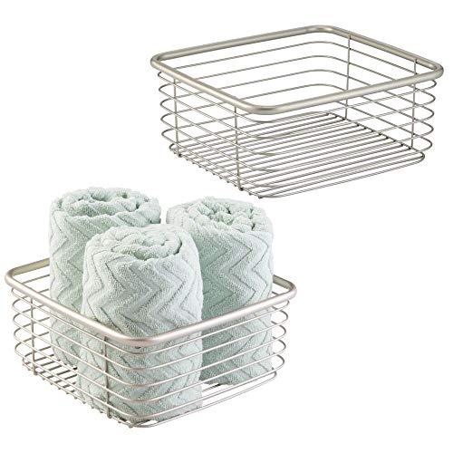 mDesign Household Square Metal Wire Storage Organizers Bins Baskets Holders for Bathroom Cabinets, Shelves, Closets, Garage, Food Pantry Kitchens Garage - 9.75