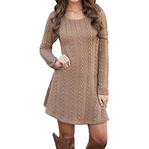 Franterd Women's Plain A Line Cable Long Sleeve Knit Sweater Mini Dress (XL, Brown)