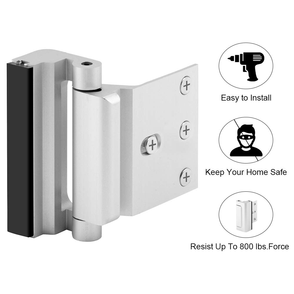 "Home Security Door Lock with 8 Screws, Childproof Door Reinforcement Lock with 3"" Stop Withstand 800 lbs for Inward Swinging Door,Upgrade Night Lock to Defend Your Home (Silver-1 Pack)"