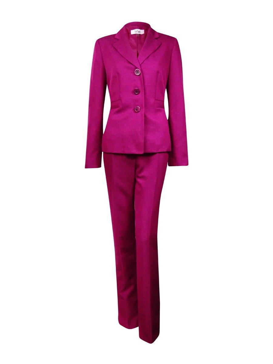 Le Suit Women's 3 Button Mini Herringbone Jacket and Pant Suit Set, Berry, 18