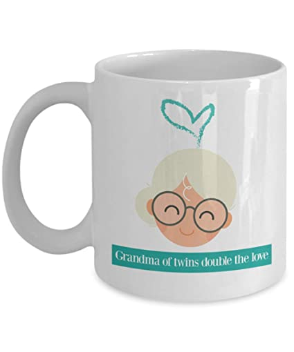 Grandma Of Twins Double The Love Cup Grandparents Day Gifts Grandpa Coffee Mug