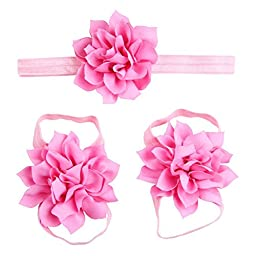 Lisli® 3sets/9pcs Baby Girl\'s Kids Flowers Foot Band Ties Barefoot Sandals Shoes and Headband