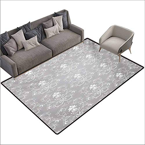 (Bath Rug 3D Digital Printing pad Damask Damask Style Antique Floral Motifs Pattern Royal Victorian Design Vintage Leaves Suitable for Outdoor and Indoor use W70 xL82 Gray and White)