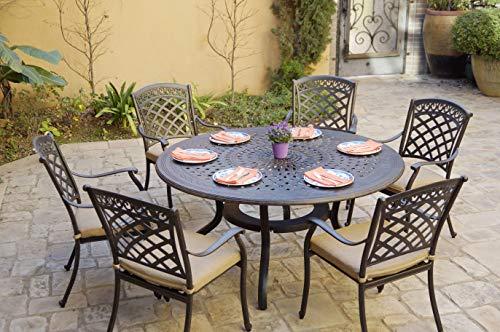 AC HOME & PATIO Cast Aluminum 7-Piece Patio Set 60'' Round Dining Table, Antique Bronze