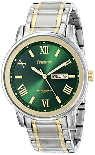 Armitron Men's 20/4935GNTT Multi-Function Green Sunray Dial Two-Tone Bracelet Watch