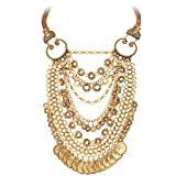 BriLove Women's Ethnic Circle Link Dangle Carving Coins Cameo Multi Layers Necklace Antiqued Gold-Tone