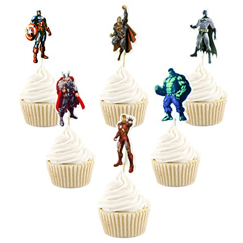 Betop House Set of 24 Pieces Avengers Super Heros Themed Party Boys Kids Birthday Baby Shower Cupcake Decorative Topper Party Supplies for $<!--$8.49-->